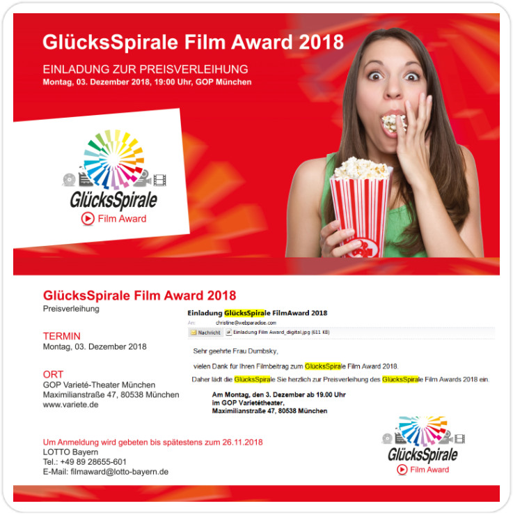 Einladung Film Award GlücksSpirale Lotto Bayern für Christine Dumbsky für Ihren Beitrag - What If I could make you happy